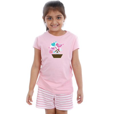 Pink Half sleeve Girls Pyjama - Happy n Lucky